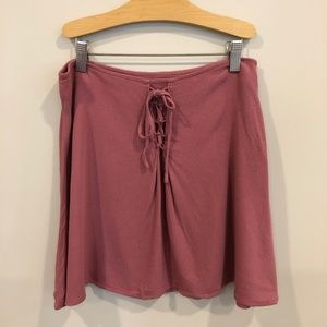 Mauve/ Pink Front Tie Rayon Skirt